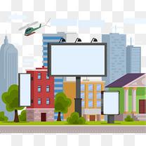矢量手绘城市广告牌