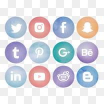 矢量水彩风格社交媒体圆形标志