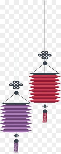 红色紫色节日灯笼