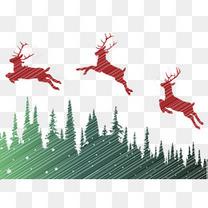 圣诞节森林麋鹿