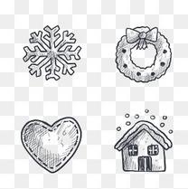 雪花素描圣诞节装饰