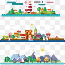 扁平卡通景观背景素材