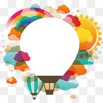 文案背景元素 热气球 装饰图案 扁平化 彩色