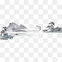 青色水墨山水国画