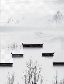 中国风江南水墨山水画