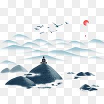 卡通手绘古风山水画