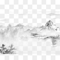 水墨古风山水画装饰