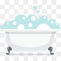 卡通白色浴缸和泡泡
