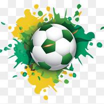 黄绿色卡通足球