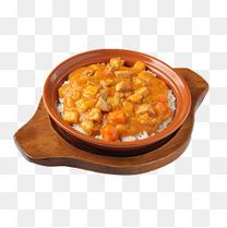 木碗咖喱鸡排饭