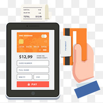 扁平化移动支付POS机刷卡矢量