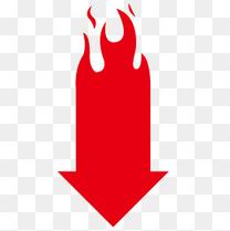 红色下降火箭头