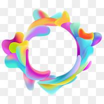 渐变圆环装饰色块素材