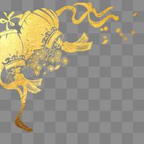 春节金色手绘灯笼png免抠图