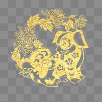 金色狗年剪纸传统纹样装饰图案
