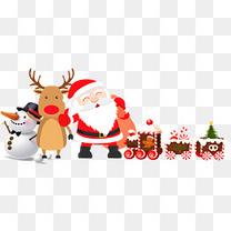 圣诞老人麋鹿雪人装饰图案