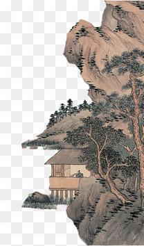 古典海报远山树木房子免扣素材