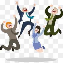 跳跃欢呼的商务人物矢量素材, 一群人欢呼