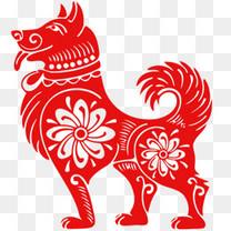 2018狗年红色窗花设计