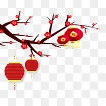 春节红梅灯笼卡通手绘psd分层图