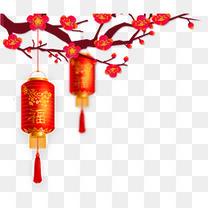 挂着灯笼的红梅psd分层图