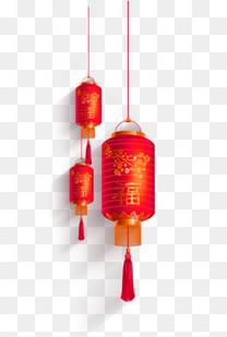 免抠红色福字灯笼