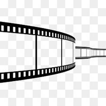 手绘黑色几何动感电影胶片