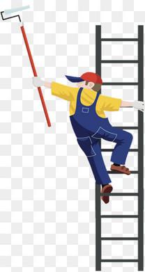 卡通插图爬着梯子刷墙的装修工人