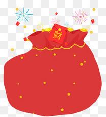 新春装饰卡通手绘福袋素材