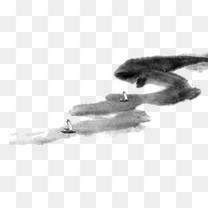 古典意境山水船只水墨画免抠图