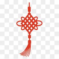 红色剪纸春节中国结元素