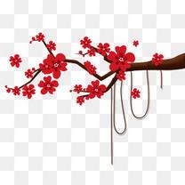 卡通大红梅花过年元旦