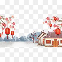 卡通春节回家过年免抠
