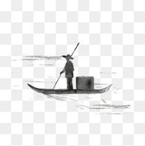 中国风创意水墨船