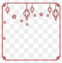 红色的灯笼海报装饰边框