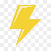 黄色扁平化闪电元素