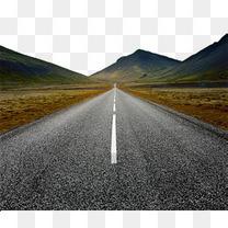 公路柏油路道路远方前方汽车广告素材