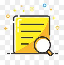 黄色手绘线稿审核纸张元素