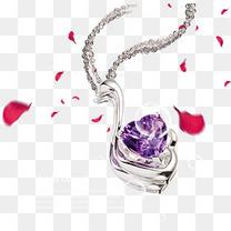 卡通手绘紫色钻石项链