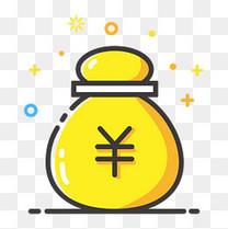 黄色手绘收益钱袋元素