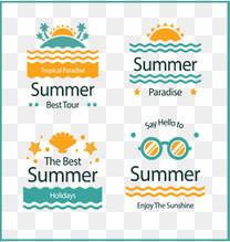 4款创意夏季假期艺术字标签矢量图