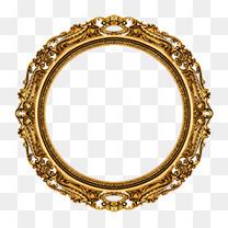 金色花纹圆环图案免抠