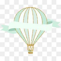 蓝色手绘热气球装饰