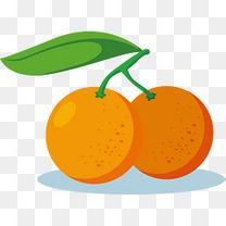 矢量绿叶卡通柑橘