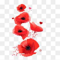 手绘矢量大红飘落的花瓣