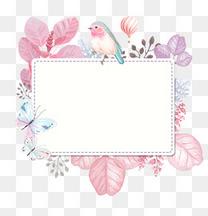 春季梦幻鸟儿与花草蝴蝶装饰边框