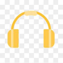 黄色圆弧弯曲耳机元素