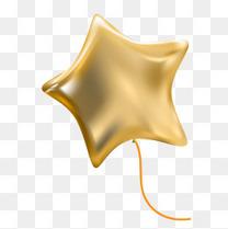 手绘矢量金色质感星星气球