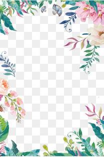 蓝色手绘春夏新风尚花卉背景