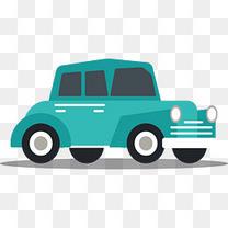 矢量卡通扁平化蓝色小汽车